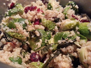 Quinoa with Roasted Brussels Sprouts, Cranberries and Almonds