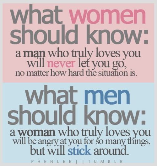 A man who loves you will never let you go, no matter how hard the situation is
