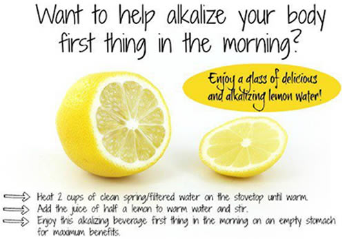 Alkalize the blood with lemon in water