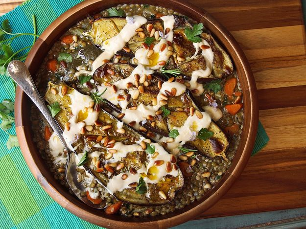 Roasted Eggplant With Tahini, Pine Nuts, and Lentils
