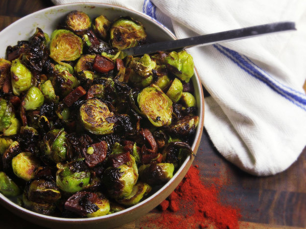 Roasted Brussels Sprouts With Chorizo and Sherry Vinegar