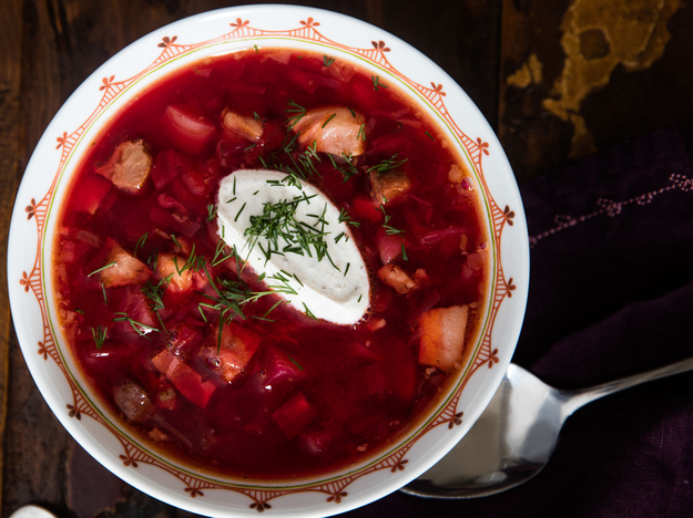 Hot Ukrainian Borscht Recipe (With Beets, Beef, Pork, and More)