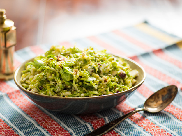 Salt-Wilted Brussels Sprout Salad With Hazelnuts and Goat Cheese