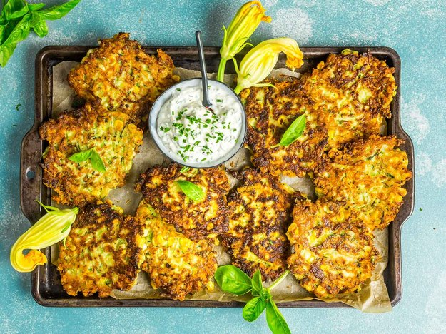 Zucchini-and-Corn Fritters With Herb Sour Cream