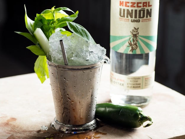 El Derby Ahumado (Basil Julep With Cucumber, Jalapeño, and Mezcal)