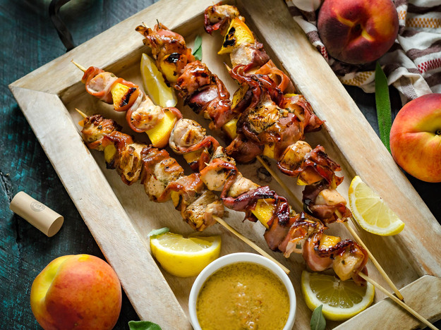 Grilled Chicken and Peach Saltimbocca Skewers