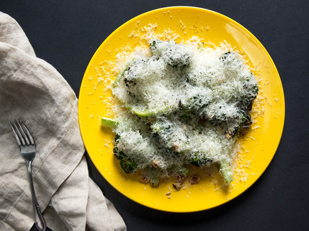 Charred Broccoli With Manchego, Hazelnuts, and Honey