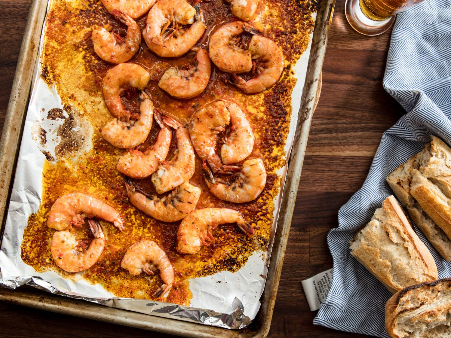 Harissa and Beer Broiled Shrimp